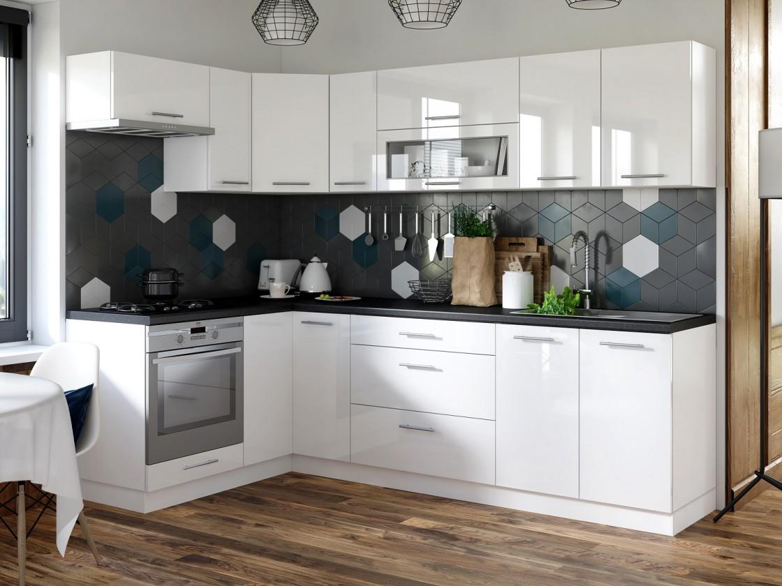 Rohová Kuchyně Emilia levý roh 243x143 cm (bílá vysoký lesk/černá)