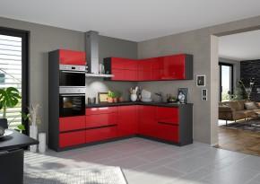 Rohová kuchyně Eugenie levý roh 260x180(červená,vysoký lesk,lak)