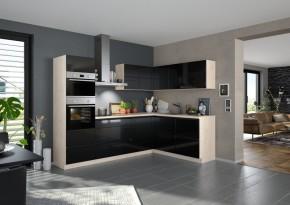 Rohová kuchyně Eugenie levý roh 275x185 (černá,vysoký lesk, lak)