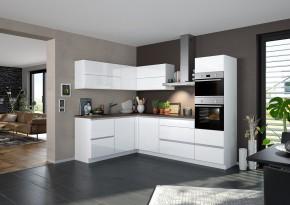 Rohová kuchyně Eugenie pravý roh 275x185 (bílá,vysoký lesk, lak)