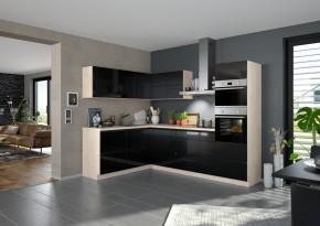 Rohová kuchyně Eugenie pravý roh 275x185 (černá,vysoký lesk,lak)