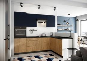 Rohová kuchyně Leya pravý roh 255x170 cm (modrá mat/dřevo)