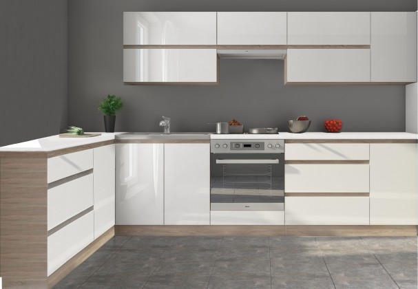 Rohová Kuchyně Line - 320x160 cm (bílá vysoký lesk/dub sonoma)
