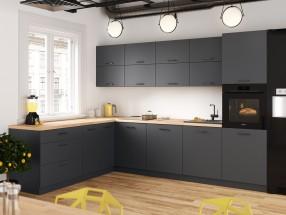 Rohová kuchyně Lisa levý roh 300x220 cm (šedá)