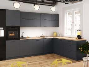 Rohová kuchyně Lisa pravý roh 300x220 cm (šedá) - II. jakost