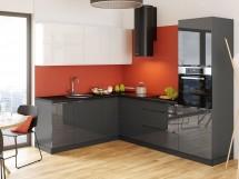 Rohová kuchyně Marsala levý roh 260x200 cm (bílá/šedá/lesk)