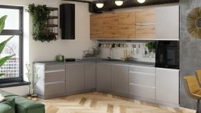 Rohová kuchyně Metalica levý roh 320x220 cm (šedá, dub)