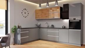 Rohová kuchyně Metalica levý roh 320x220 cm (stříbrná, dub)