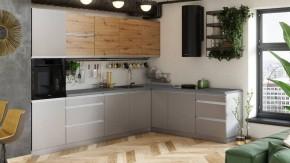 Rohová kuchyně Metalica pravý roh 320x220 cm (šedá, dub)