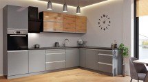 Rohová kuchyně Metalica pravý roh 320x220 cm (stříbrná, dub)