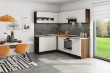 Rohová kuchyně Nina levý roh 220x160 cm (béžová/dub tmavý/písek)