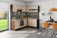Rohová kuchyně Nina pravý roh 220x160 cm (béžová/dub tmavý/písek)