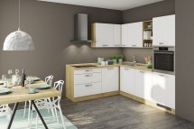 Rohová kuchyně Sabrina levý roh 240x200 cm (bílá/dub arlington)