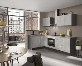 Rohová kuchyně Ute pravý roh 250x150 cm (světlý beton)