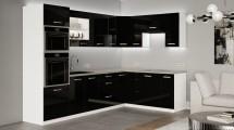 Rohová kuchyně Vicky black pravý roh 290x180 (černá vysoký lesk)