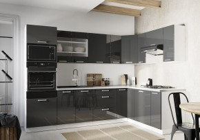 Rohová kuchyně Vicky pravý roh 290x180 cm (šedá lesk)