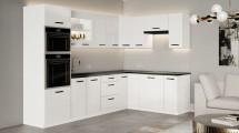 Rohová kuchyně Vicky white pravý roh 290x180cm(bílá vysoký lesk)