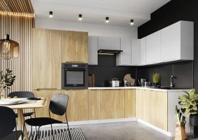 Rohová kuchyně Zoya pravý roh 300x180 cm (šedá/dřevo) - II.jakost