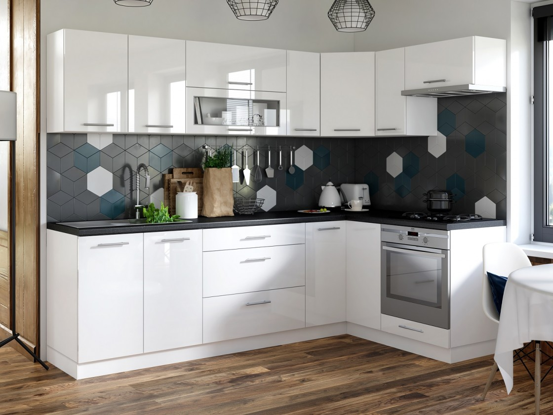 Rohová Rohová kuchyně Emilia pravý roh 243x143 cm (bílá lesk/černá)