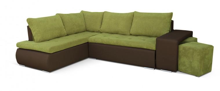 Rohová sedací souprava Kris - roh levý (doti 35, korpus/soft 66, sedák, taburety)