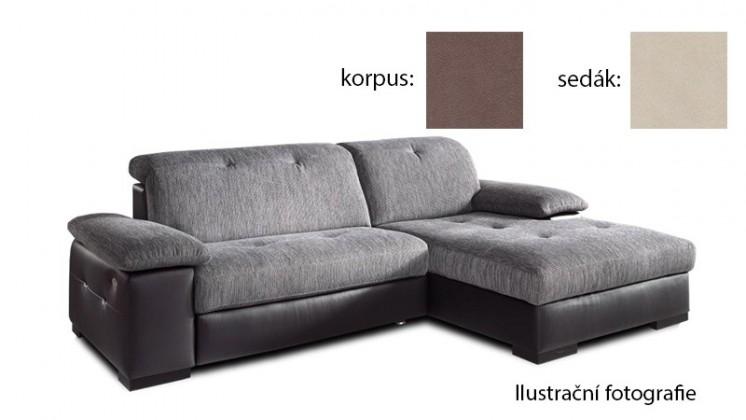 Rohová sedací souprava Livorna - pravá (k:new lucca-brown p700/m:new lucca-beige p702)
