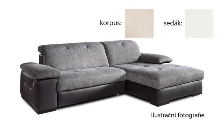 Rohová sedací souprava Livorna - pravá (k:pulse-beige d243/m:pulse-white d200)