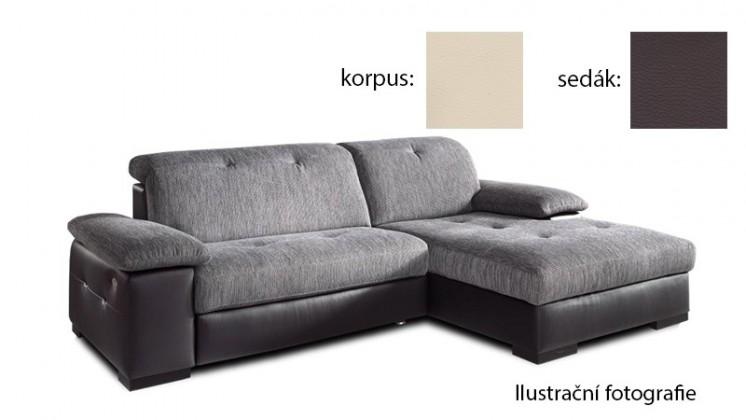 Rohová sedací souprava Livorna - pravá (k:pulse-bisquit d202/m:pulse-coffee d207)