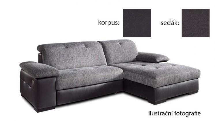 Rohová sedací souprava Livorna - pravá (k:pulse-black d209/m:pulse-espresso d219)