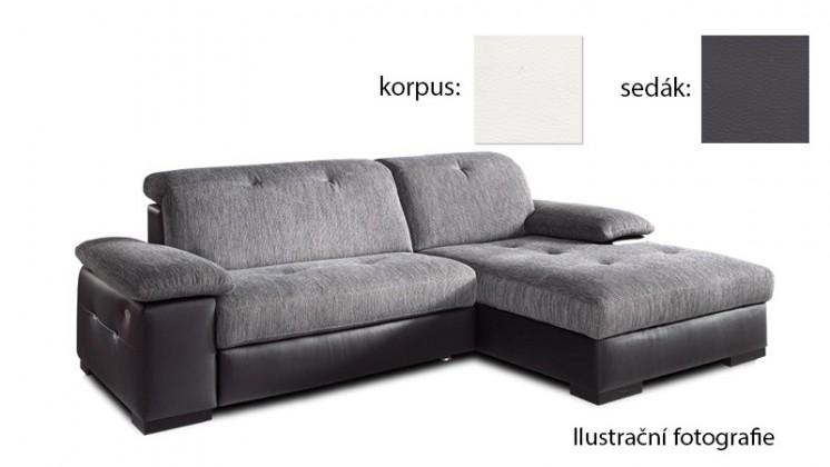 Rohová sedací souprava Livorna - pravá (k:pulse-white d200/m:pulse-fango d208)