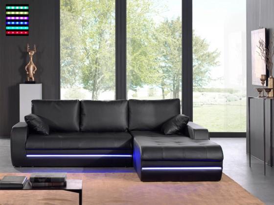 Rohová sedací souprava Rohová sedací souprava Flash pravý roh (černá, syntetická kůže)