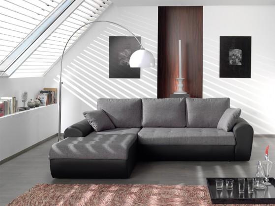 Rohová sedací souprava Rohová sedačka Flash levý roh (savana dark grey/pu black)