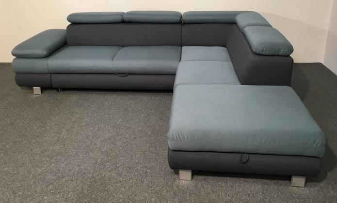 Rohová sedací souprava Rohová sedačka rozkládací Canton pravý roh ÚP modrá, šedá