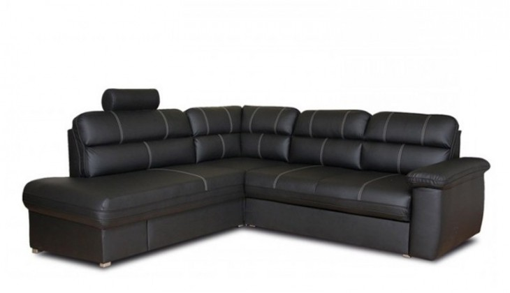 Rohová sedací souprava Rohová sedačka rozkládací Cordoba levý roh (soft černá/bílá)