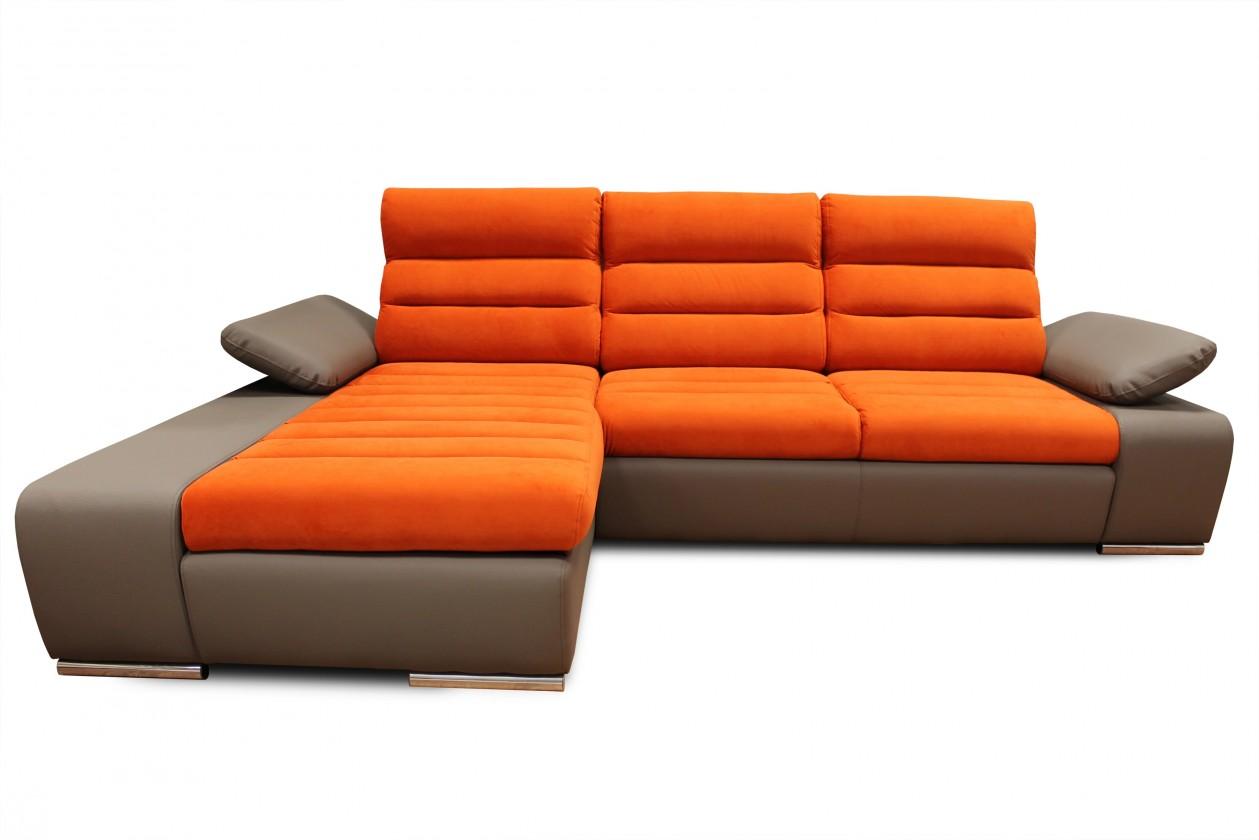 Rohová sedací souprava Rohová sedačka rozkládací Korfu levý roh ÚP hnědá, oranžová
