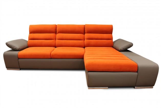Rohová sedací souprava Rohová sedačka rozkládací Korfu pravý roh ÚP hnědá, oranžová