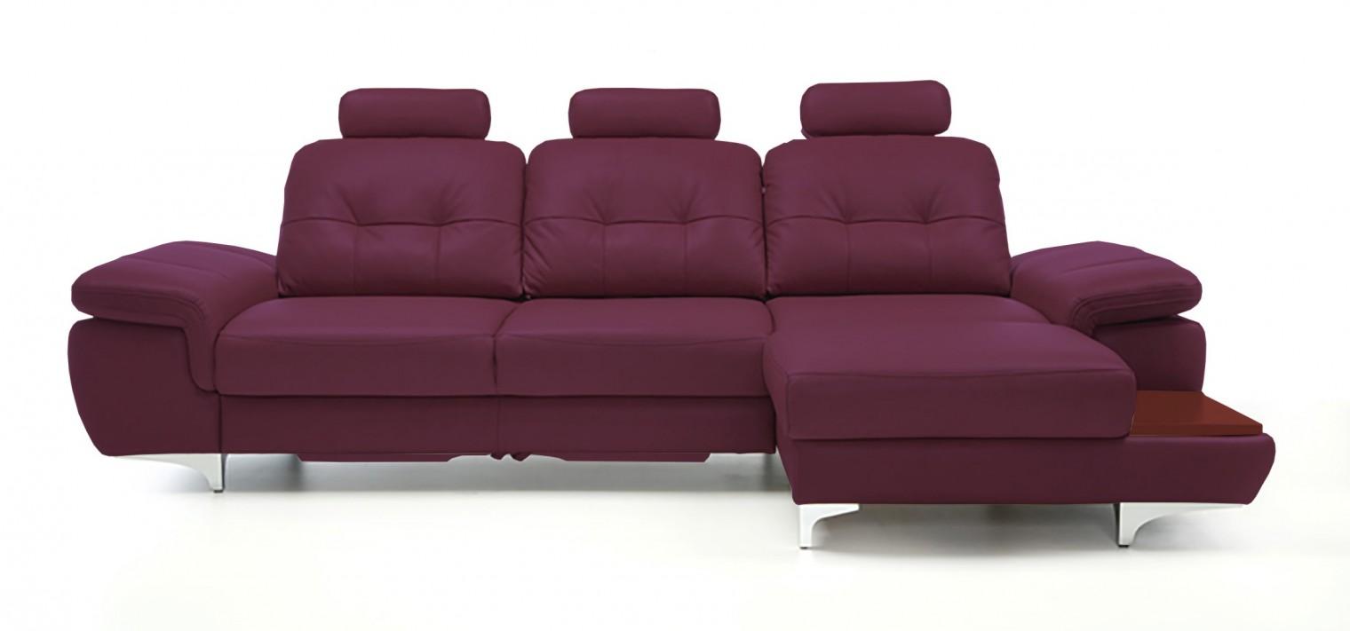 Rohová sedací souprava Rohová sedačka rozkládací Move pravý roh, 3xP (mahagon/kůže)
