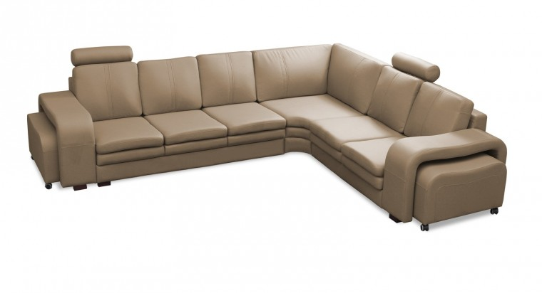 Rohová sedací souprava Rohová sedačka Soft pravý roh, 2x taburet (eko kůže)