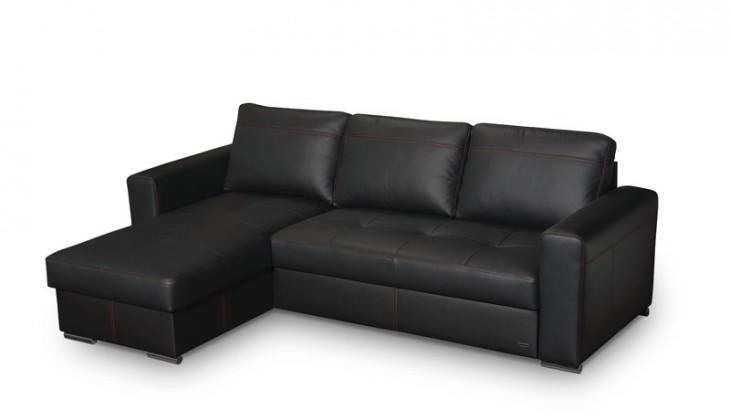 Rohová sedací souprava Solaris - roh uni (kůže black E010 / eco kůže, nit 245)