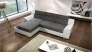 Rohová sedací souprava Tiscali levý roh (látka/eko, šedá, bílá)