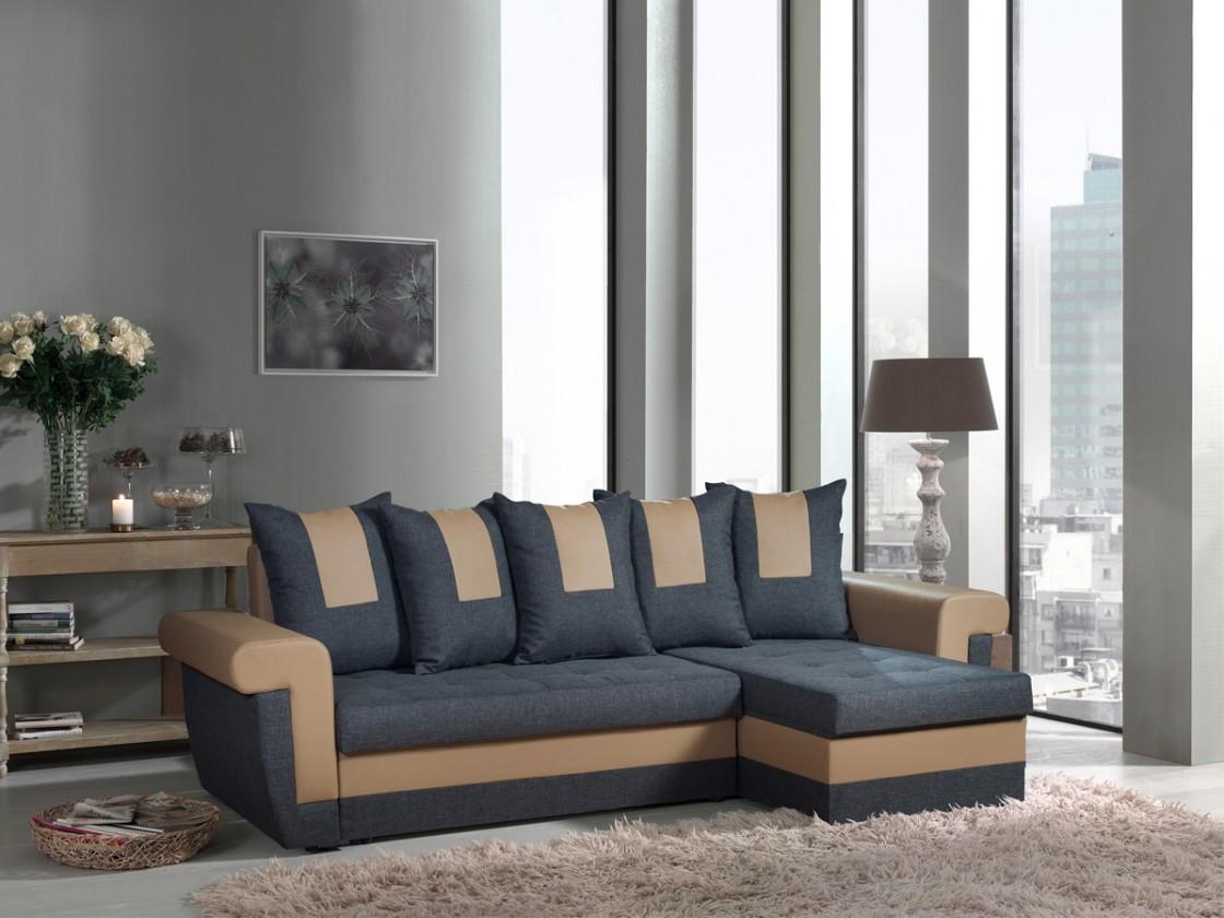 Rohová sedací souprava Tulum-univerzální (savana grey-hl.látka/pvc taupe-doplň.látka)