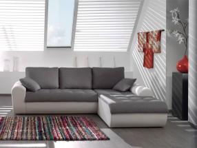 Rohová sedačka Flash pravý roh (savana light grey/pu white)