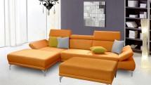 Rohová sedačka Soni s taburetem levý roh oranžová