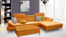 Rohová sedačka Soni s taburetem pravý roh oranžová