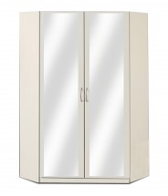 Rohová skříň Sprint - 175 cm,2x zrcadlo (alpská bílá)