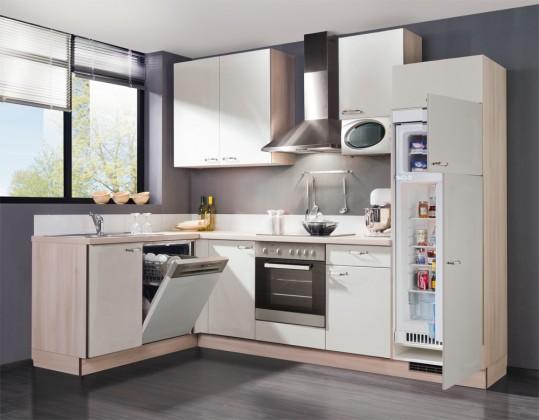 Rohová Slowfox - Kuchyň rohová, 280x175cm (bílá/akácie)