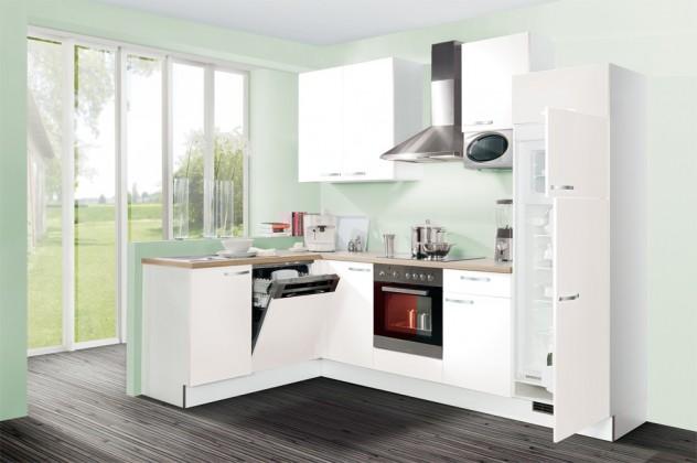 Rohová Slowfox - Kuchyň rohová, 280x175cm (bílá/horský dub/bílá)