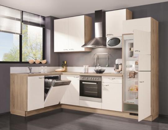 Rohová Slowfox - Kuchyň rohová, 280x175cm (bílá/horský dub)