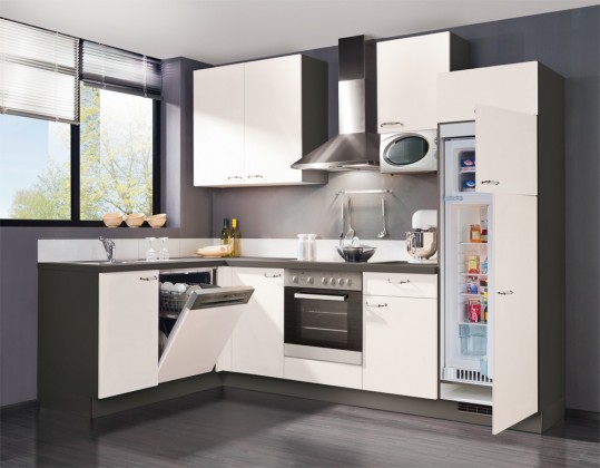 Rohová Slowfox - Kuchyň rohová, 280x175cm (bílá/šedá)