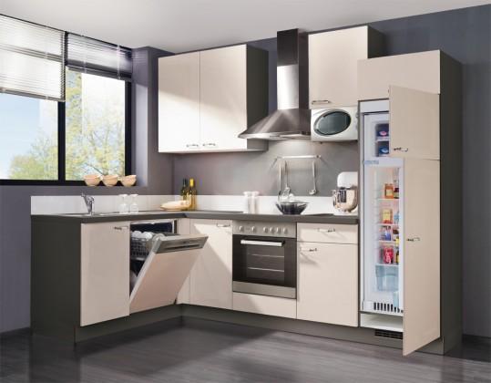 Rohová Slowfox - Kuchyň rohová, 280x175cm (krémová/šedá)