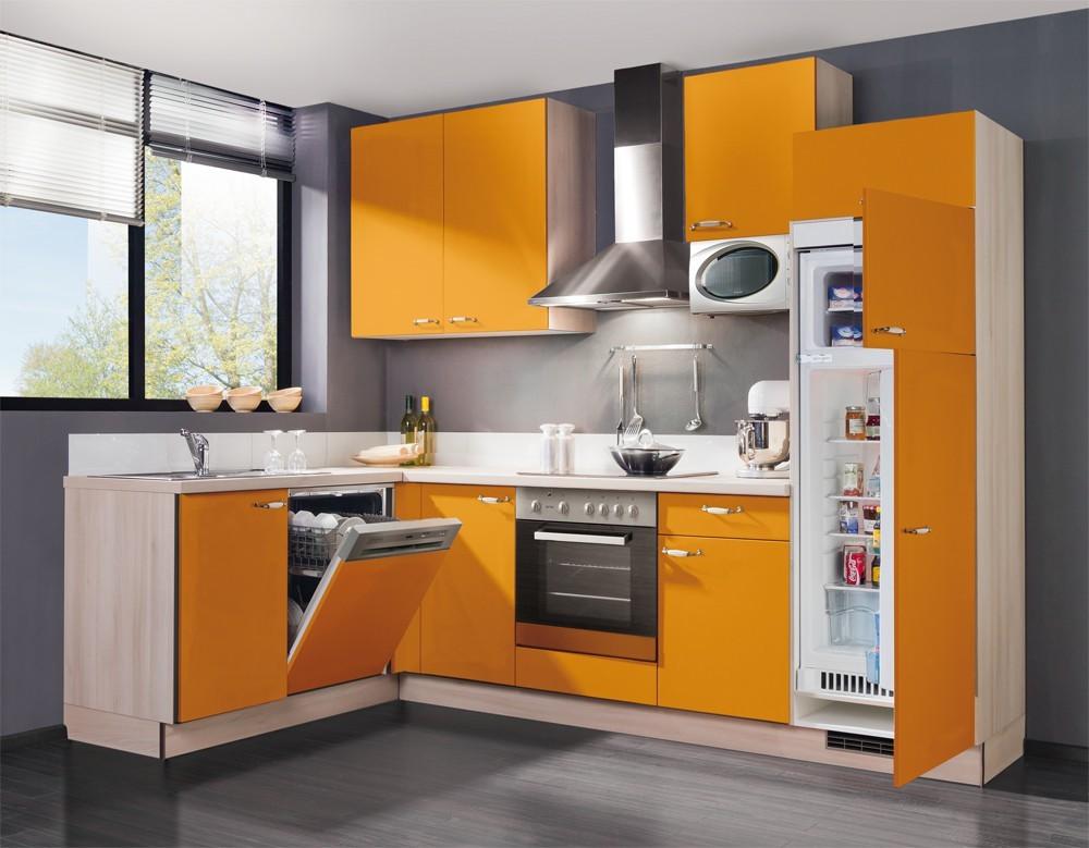 Rohová Slowfox - Kuchyň rohová, 280x175cm (oranžová/akácie)
